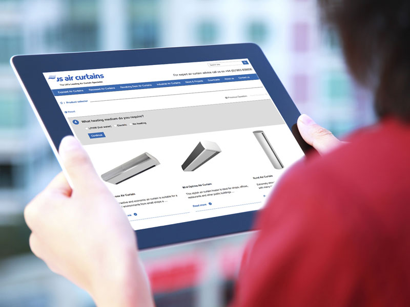 Select the ideal air curtain using the online product selector tool