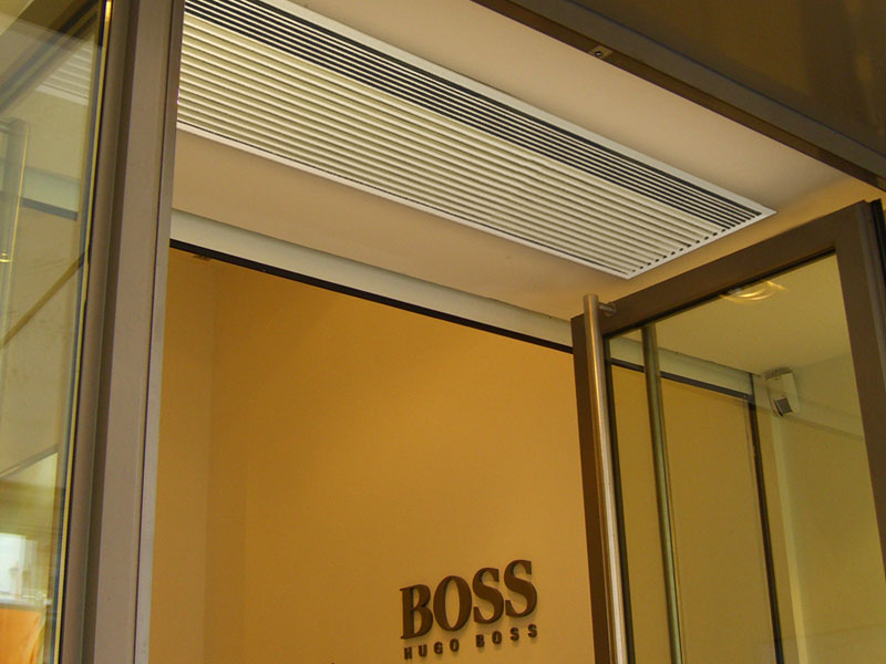 Recessed Optima air curtain at Hugo Boss store