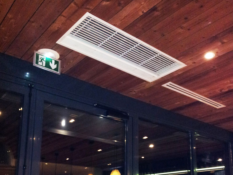 Recessed Optima aur curatin at Paul Bocuse restaurant, Lyon, France